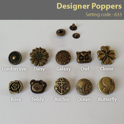 15-20mm Antique brass 10 Poppers Snap fasteners Press studs Buttons 633