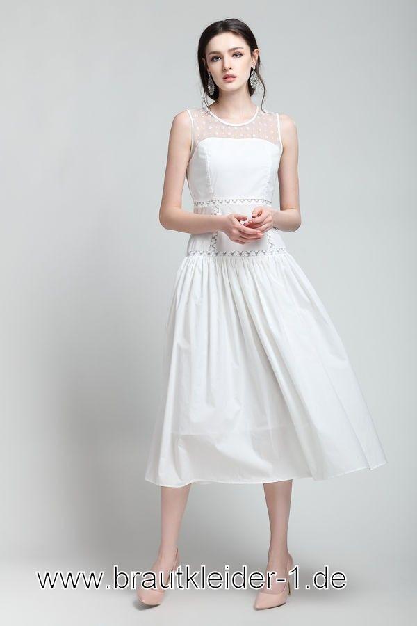 Midi Standesamt Kleid 2019 Mode mit Breiteträger | Mode ...