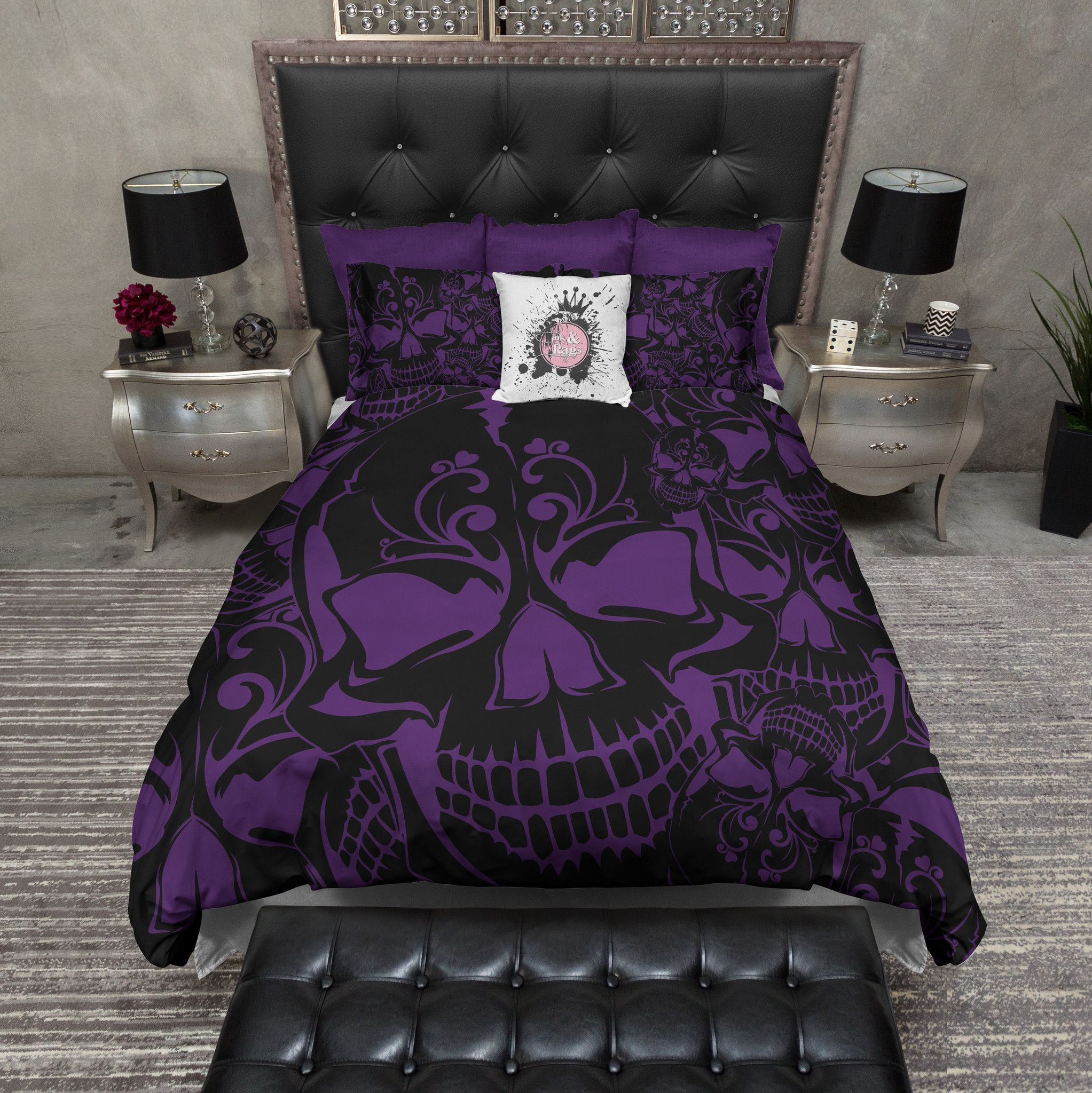Purple And Black Collage Skull Bedding Collection Purple Bedding