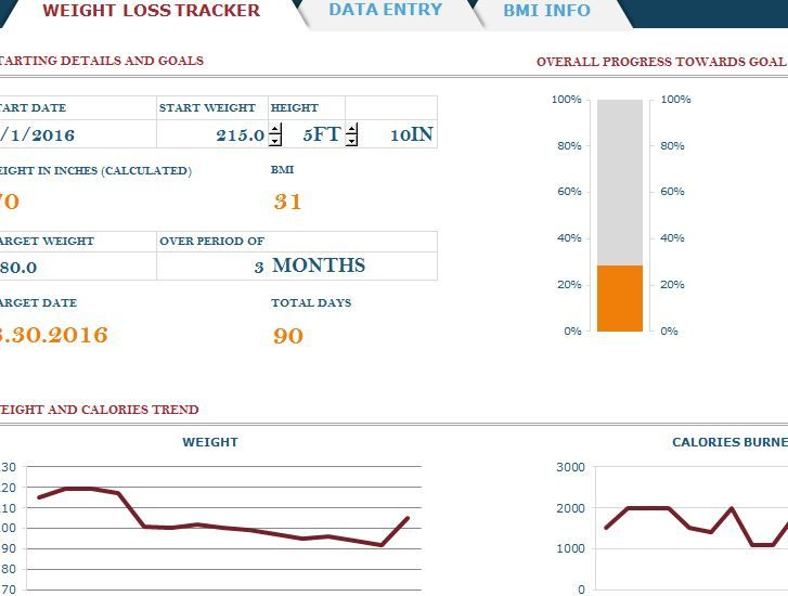 Free Weight Loss Tracker With Bmi Excel Template  Health And
