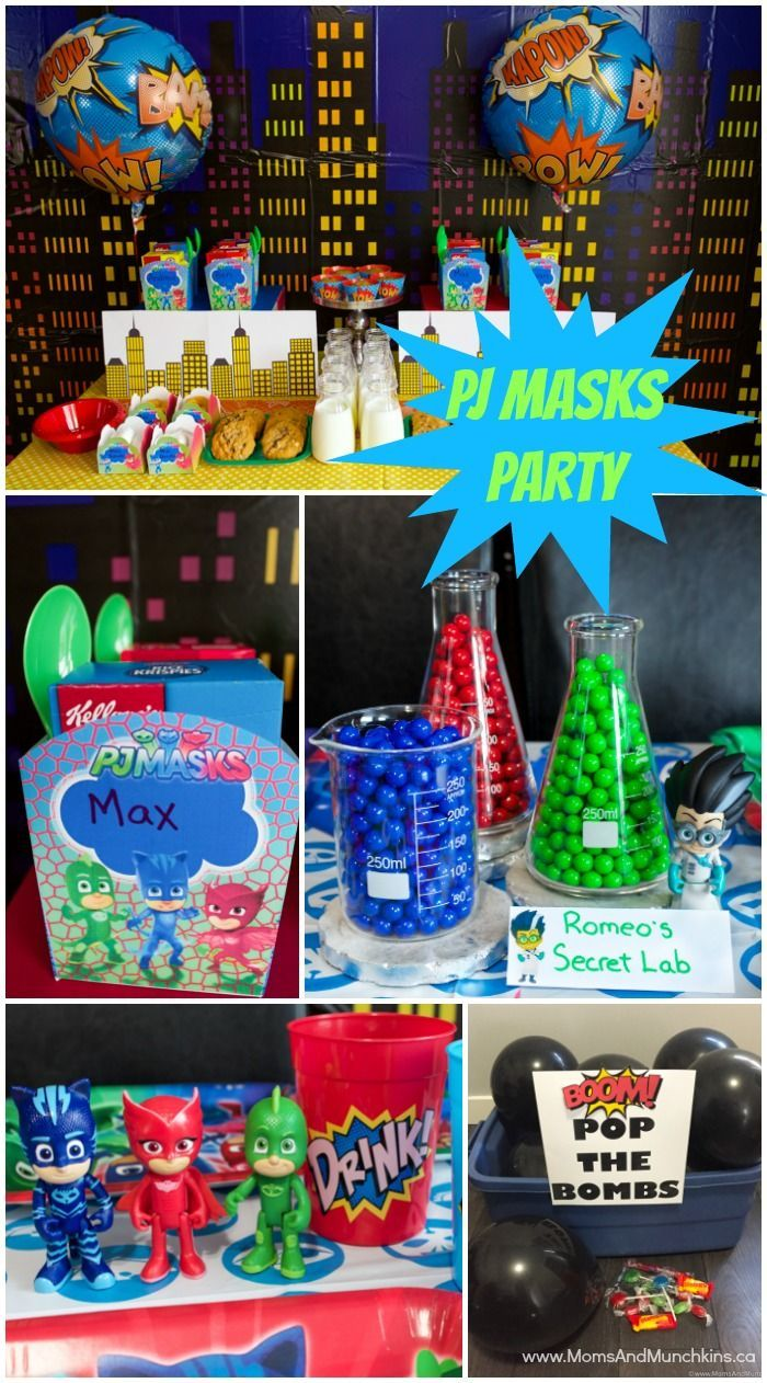 Pj Mask Party Decorations Adorable Pj Masks Party Ideas And Printables  Mask Party Pj Mask And Pj Decorating Inspiration