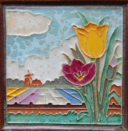 Vintage Cloisonne Tile Porceleyne Fles Delft Lizard Tegel Pottery & China Delft