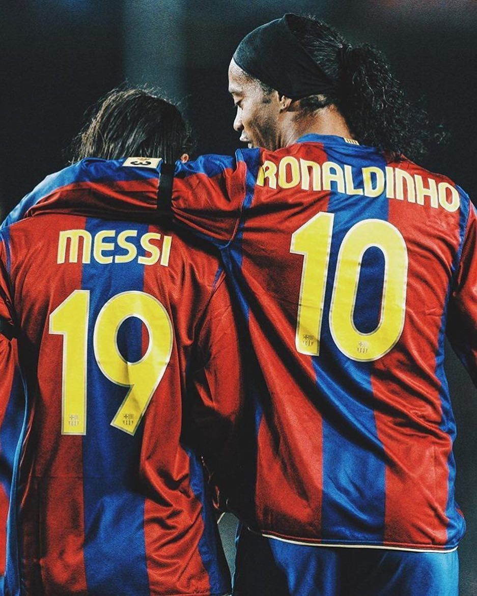 Student And Teacher Messi Ronaldinho Futbolsport Soccerst By Futbolsport Lionel Messi Barcelona Soccer Usa Soccer Women