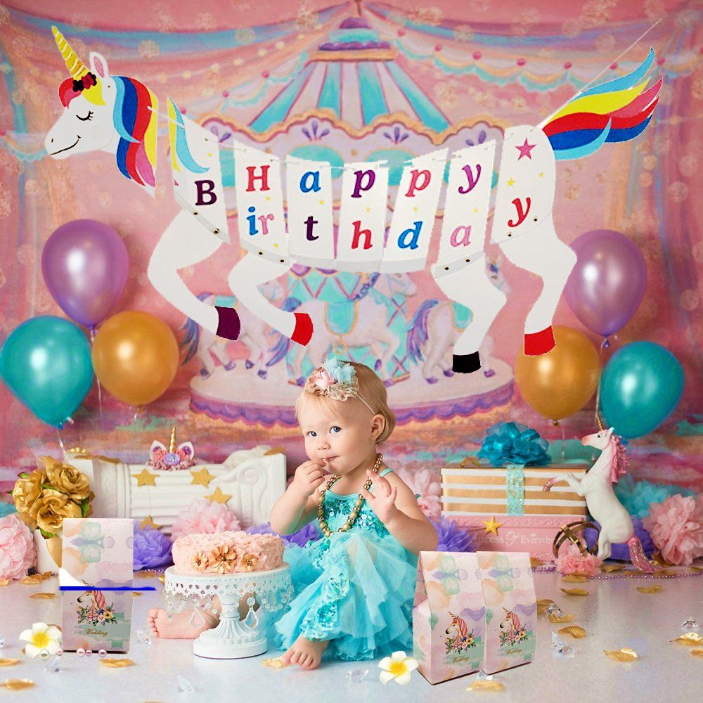 Unicorn Party Supplies Assembled Magical Happy Birthday RAINBOW Banner
