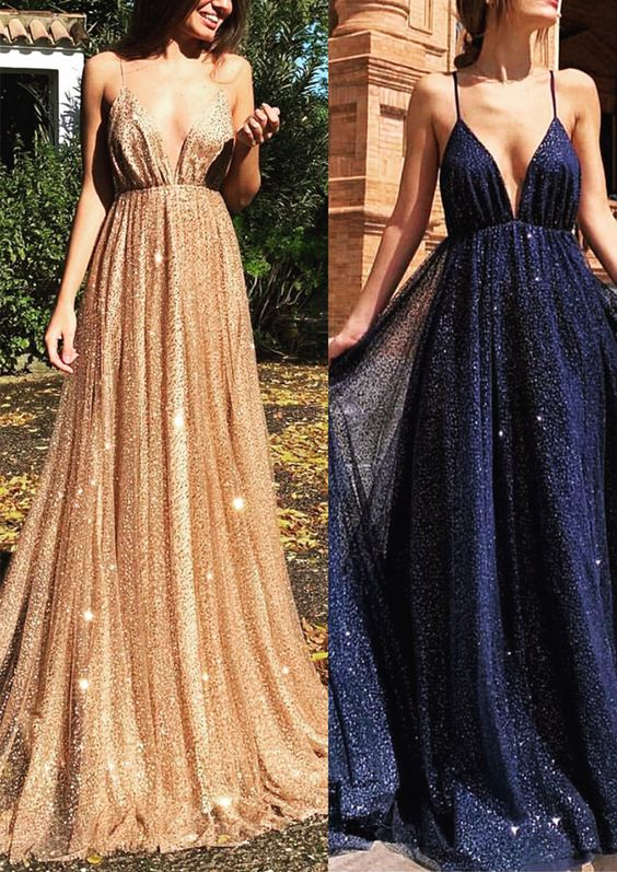 Long Sequins Evening Dresses Plunge V-neck Prom Gowns