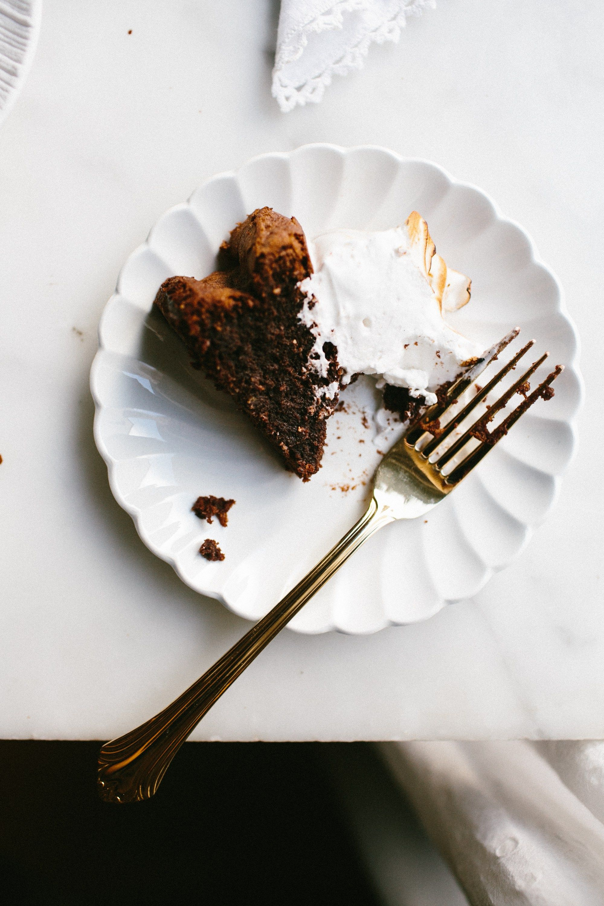 Flourless Chocolate Cake + Peppermint Meringue
