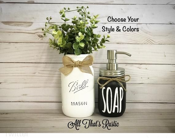 Farmhouse Bathroom Decor, Kitchen Decor, Bathroom Decor, Mason Jar Decor, Mason Jar Soap Dispenser, Black and White Farmhouse, Mason Jars #masonjarbathroom