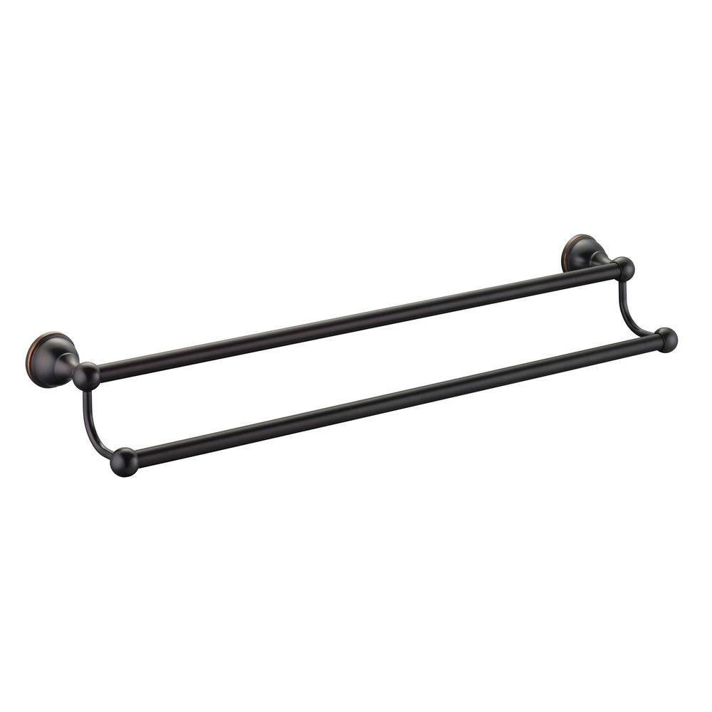 Glacier Bay Mandouri Series 24 In Double Towel Bar In Bronze 262a 1327h2 The Home Depot Double Towel Bar Towel Bar Oil Rubbed Bronze