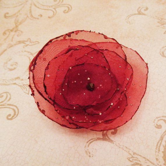 Red Organza Flower Pin with Diamond Effects and by embellishingyou, $8.00
