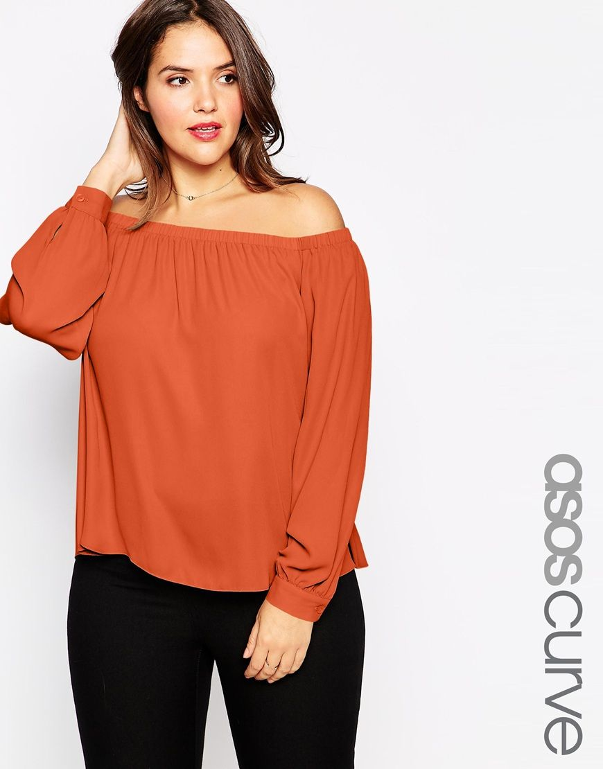 647d550bfde9dc ASOS CURVE Off The Shoulder Top in Crepe