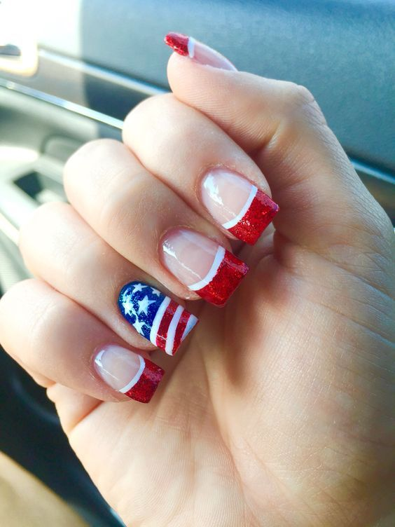 Feature Flag Easy Diy 4th Of July Nail Art Designs For Short Nails Patriotic Nails July Nails Wide Nails