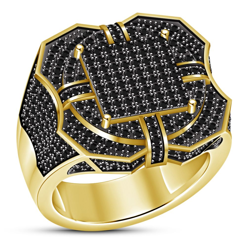 67a2168fd 18K Yellow Gold Fn 925 Silver Iced Out BAND HipHop Engagement CZ Pinky Men  Ring