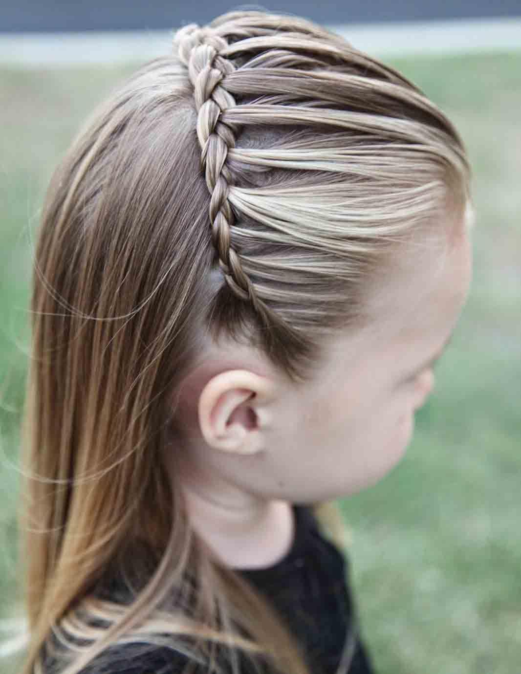 best front hair braided hairstyle half up half down little girls