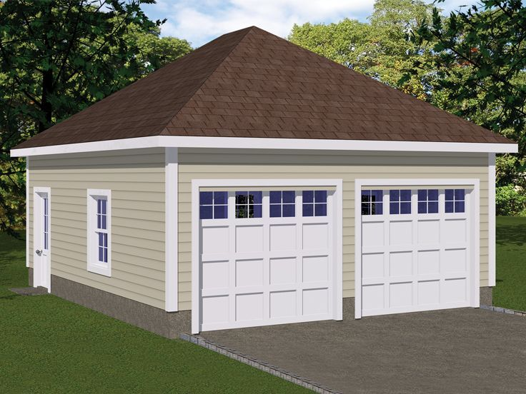 Best 078G 0002 2 Car Garage Plan With Hip Roof Roof Styles 400 x 300