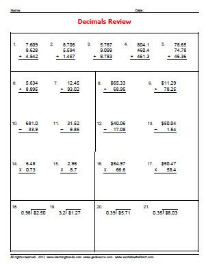 Worksheets Free Decimal Worksheets decimal worksheets delibertad basic delibertad