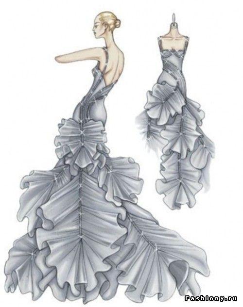 Эскизы платьев версаче работа модели такой же труд