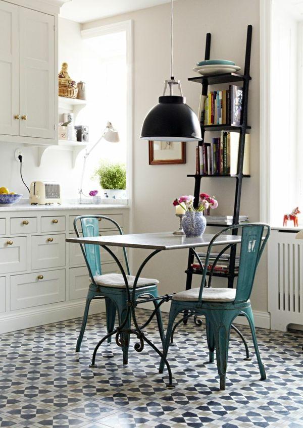 Idées Pour La Deco Cuisine Retro Retro Chic Decoration And - Carrelage bleu pour idees de deco de cuisine