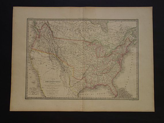 USA antique map 1842 large old poster of United by VintageOldMaps ...