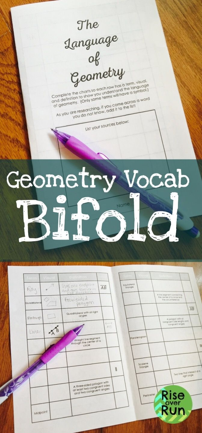 Geometry Vocabulary Study Guide Foldable Geometric Terms Student