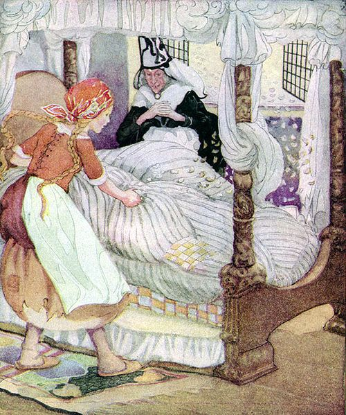 Old, Old Fairy Tales: 'Madame Holl' by Anne Anderson (1874-1930) Always shake my featherbed out the window... In Danish: Mor Hulda