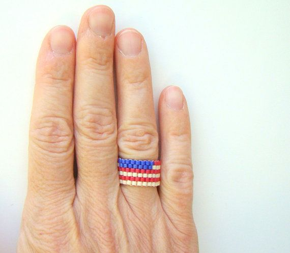 Celebrate the 4th! American flag bead ring in red white and blue by ElephantBeads - custom made to size