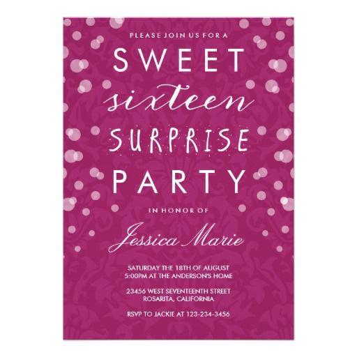 Sweet Sixteen Surprise Party Invitation