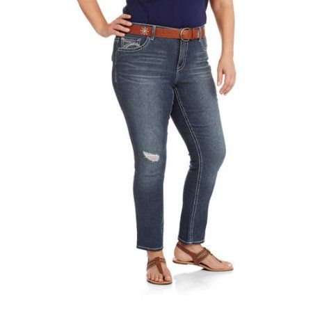 Faded Glory Women's Plus-Size Embellished Straight leg Jeans, Size: 18W, Gray