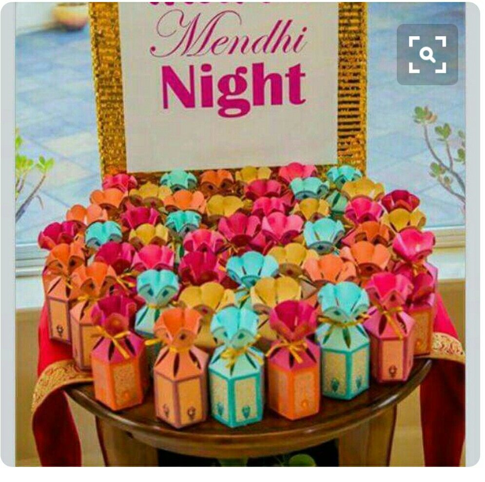 Pin By Priyal Shah On Decorations Indian Wedding Favors Mehndi Decor Wedding Party Favors