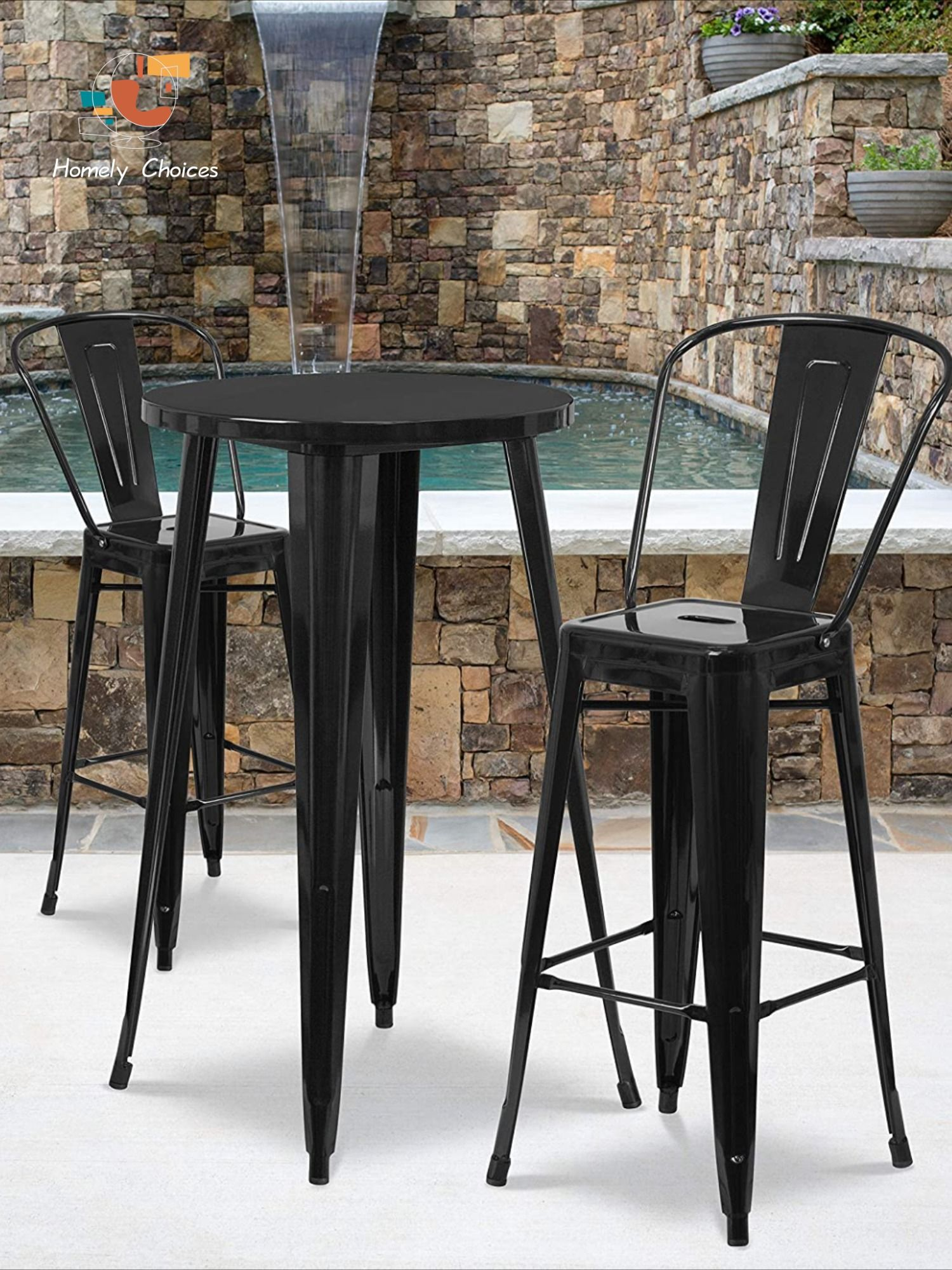 Flash Furniture 24 Round Black Metal Indoor Outdoor Bar Table Set With 2 Cafe Stools Bar Table Outdoor Bar Table Bar Table Sets [ 2000 x 1500 Pixel ]