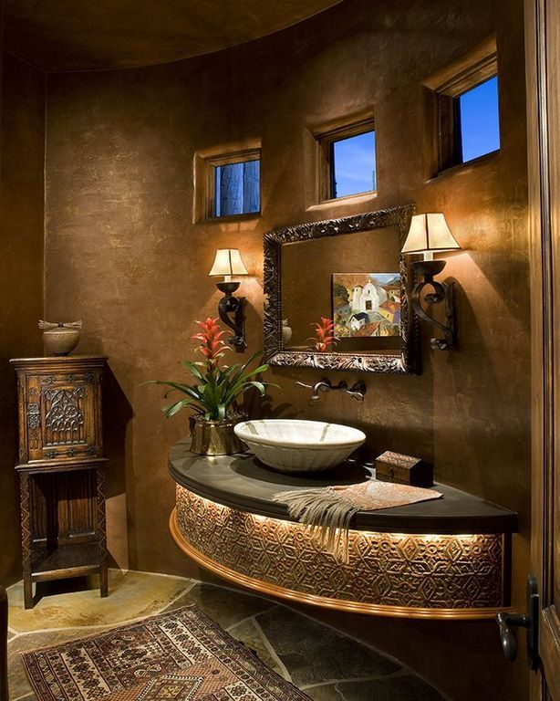 mediterranean powder room with powder room wall sconce daltile natural flecks bathroom. Black Bedroom Furniture Sets. Home Design Ideas