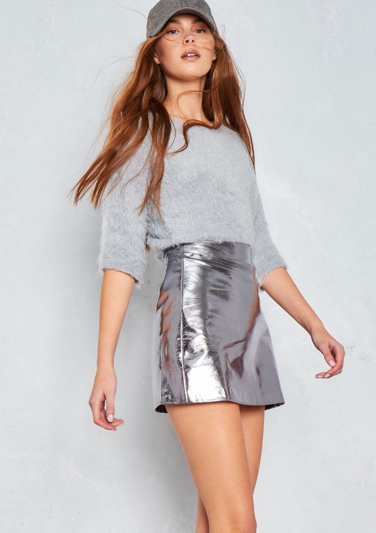 72d2f87f46b7f Vesper Silver Metallic Faux Leather Skirt