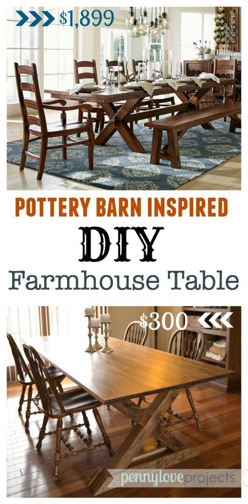 DIY Pottery Barn Inspired Farmhouse Table   Diy farmhouse ...
