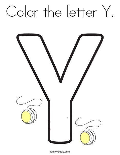 Color The Letter Y Coloring Page Twisty Noodle Lettering