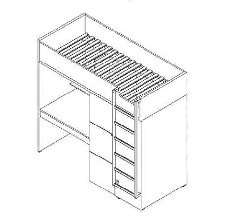 Hochbett Etagenbett MULTI Black\White schwarz-weiß, Stockbett, mit - küche schwarz weiß