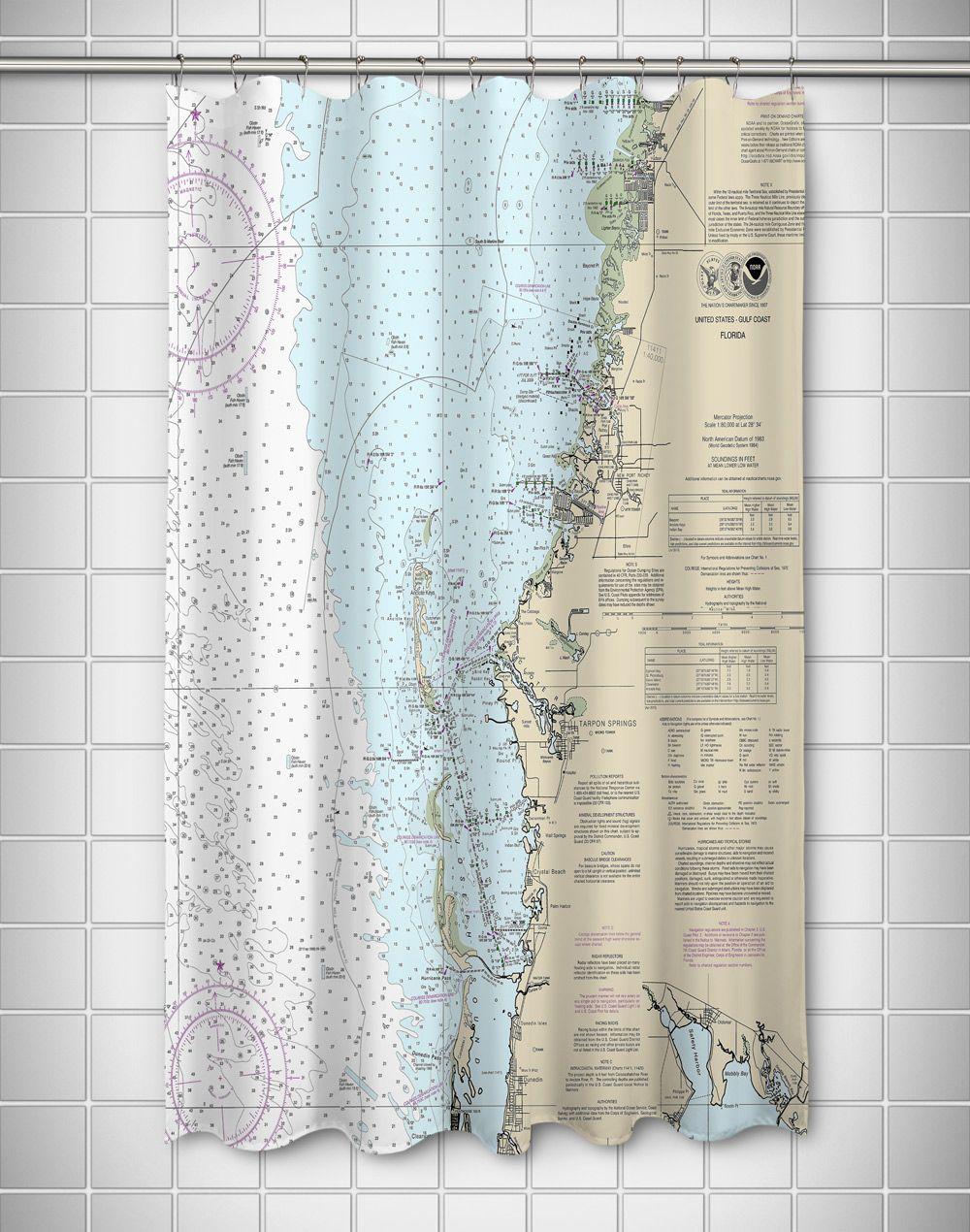 FL New Port Richey Tarpon Springs Crystal Beach Nautical Chart Shower