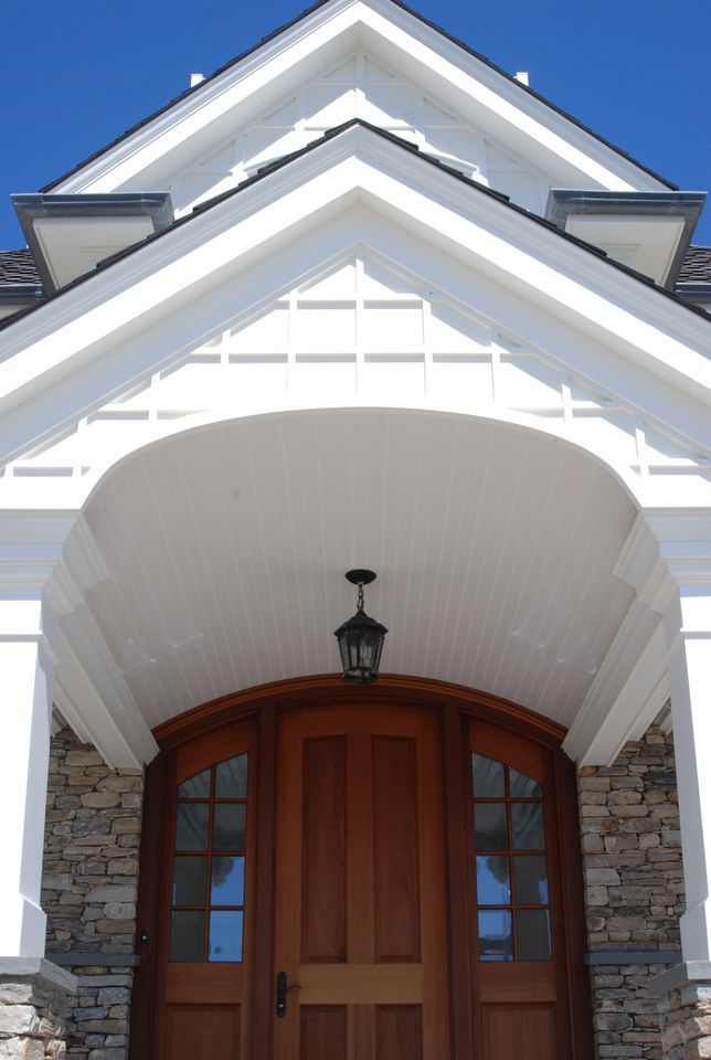Love This How The Trim And Moulding Elevates The Doorway Design And Invites Your Guests Right In The Beadboard Is A Perfect F Exterior Design Home Improvement Contractors Home