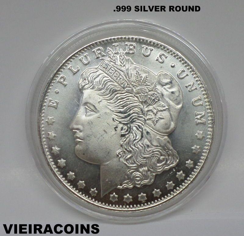 Morgan Silver Round 1 Troy Oz 999 Pure Silver 6113