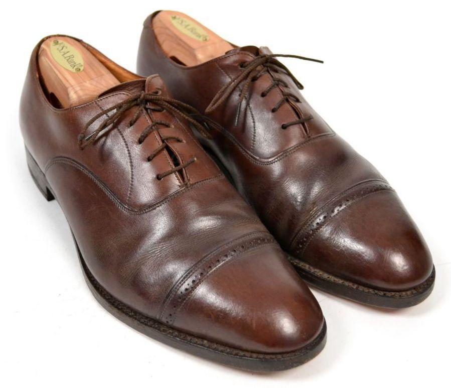BROOKS BROTHER Brown Balmoral Captoe Leather Dress Shoes Mens EU 41E US 8