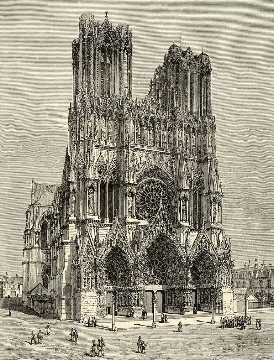 Facade of Reims Cathedral note the near lifesize