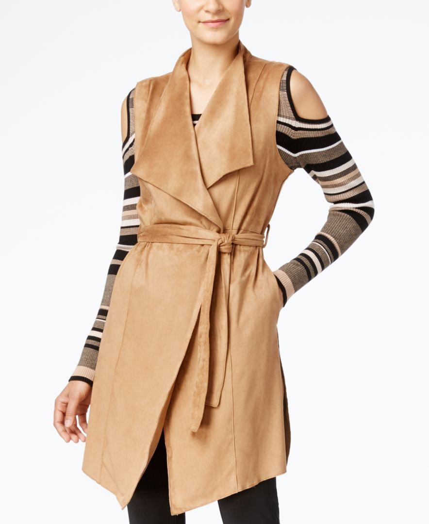 Grace Elements Faux-Suede Belted Trench Vest