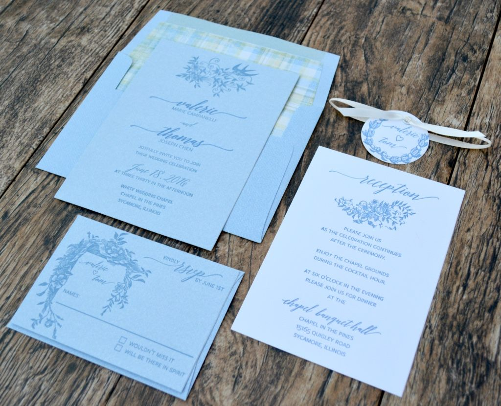 Sweet blue jean and white letterpress wedding invitation suite with ...
