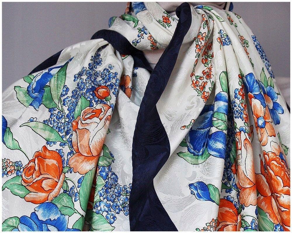 David Watson Piekna Jedwabna Apaszka Chusta Silk 7519196074 Allegro Pl Wiecej Niz Aukcje Kimono Top Fashion Women
