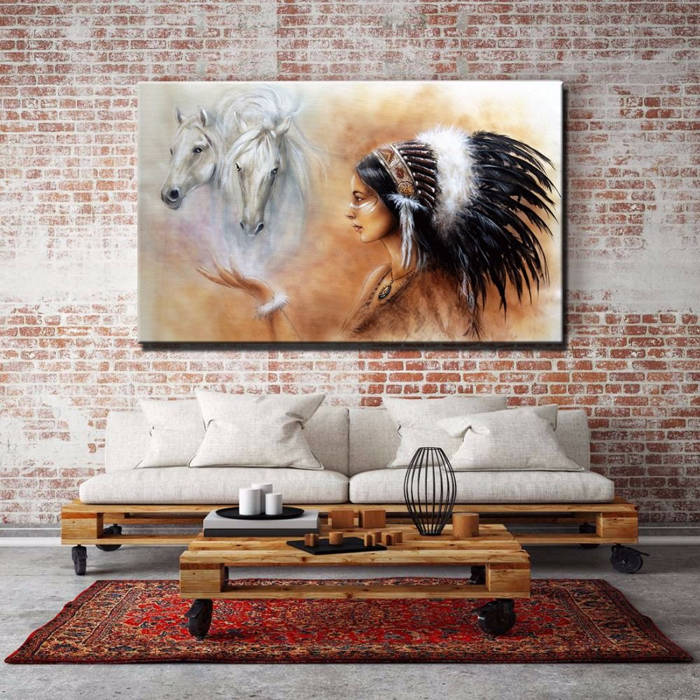 Home decor paintings - Large Wall Art Canvas Indian Girl With Horses Home Decor Paintings Quality Picture Prints For Personality