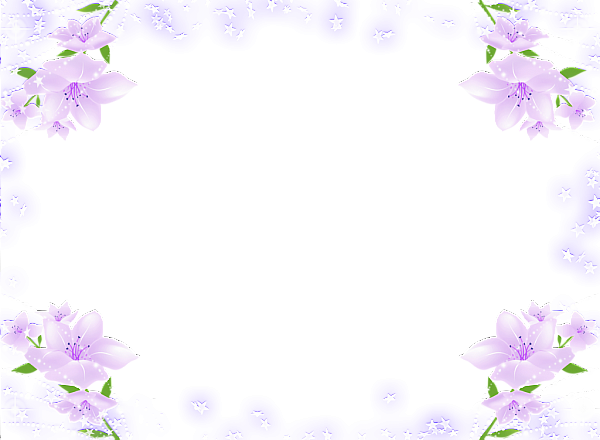 Transparent Frame With Purple Soft Flowers Flower Frame Flower Stationary Purple