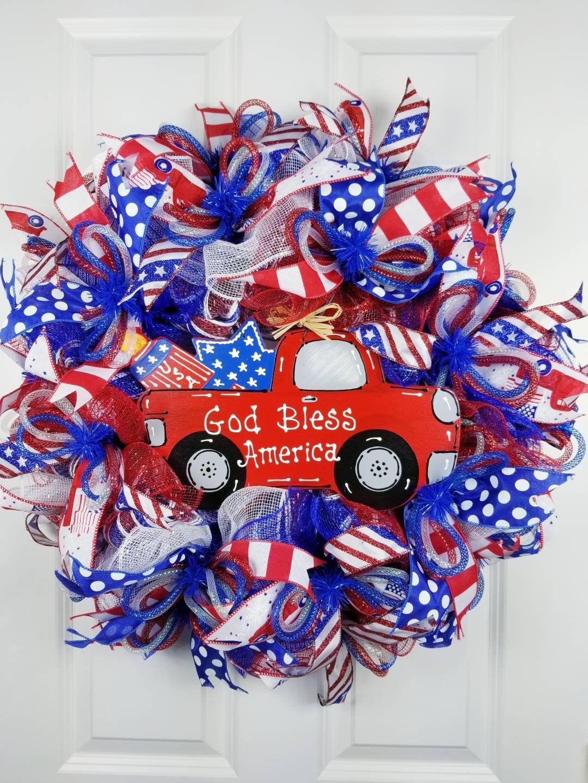 Photo of 4th of July wreath for front door, Memorial day wreath, Patriotic wreath, Summer wreath for front door, Patriotic welcome wreath, Door decor