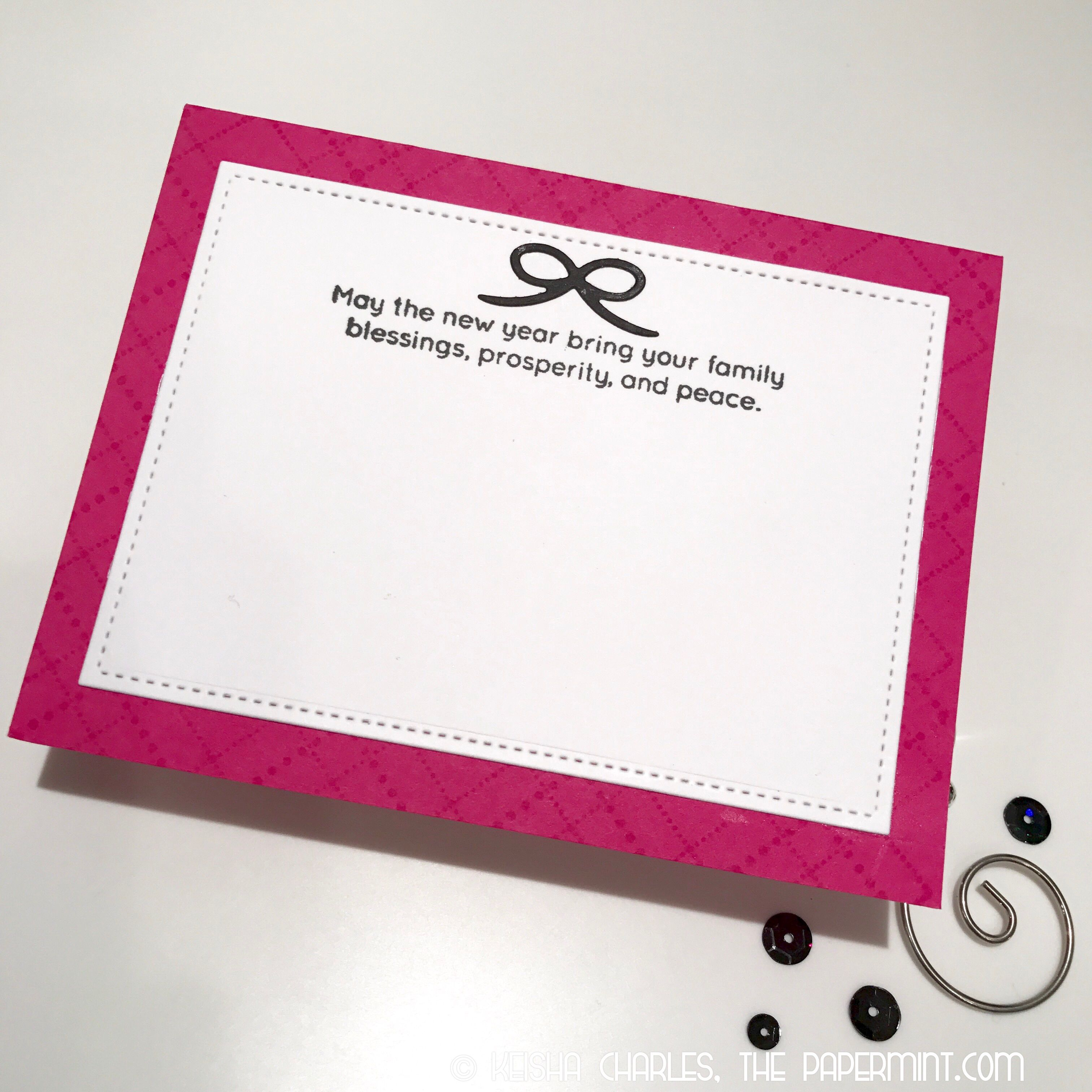 """Inside of Pink """"Merry Christmas"""" card."""