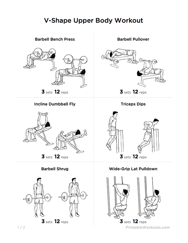 V Shape Upper Body Workout Plan For Chest Shoulders Lats