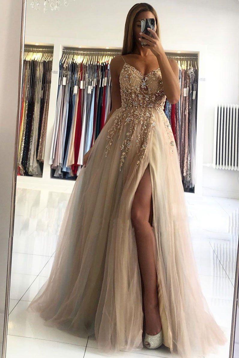 2021 Champagne V Neck Beads Long Prom Dress Champagne Evening Dress Champagne Evening Dress Prom Dresses Champagne Prom Dress [ 1194 x 796 Pixel ]