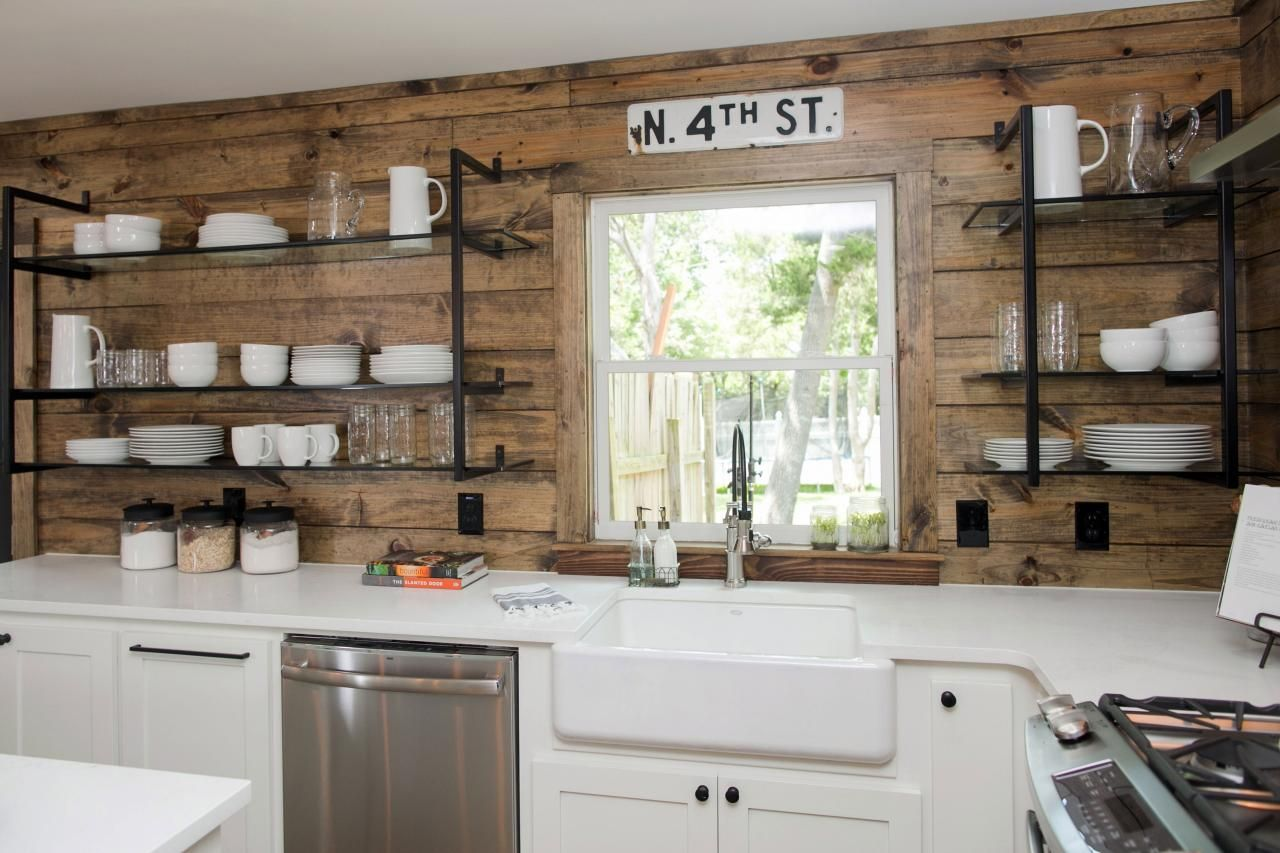 Reclaimed wood idea for kitchen or TV wall -- use old floor ...