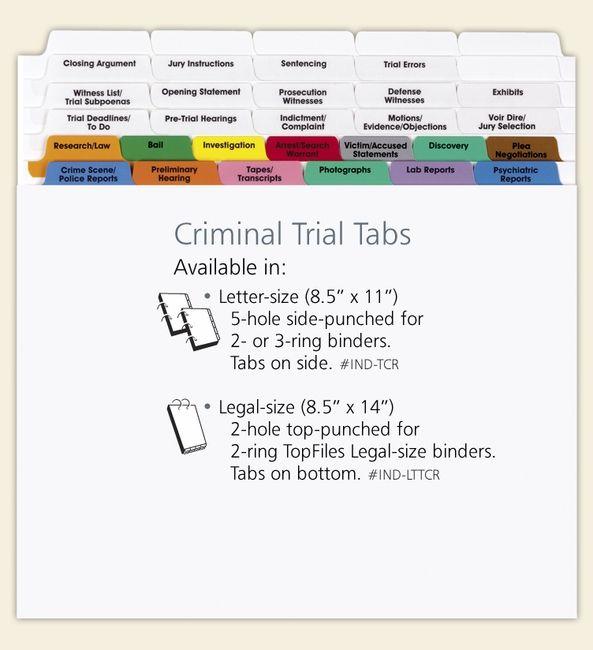 Criminal Trial Index Tab Dividers